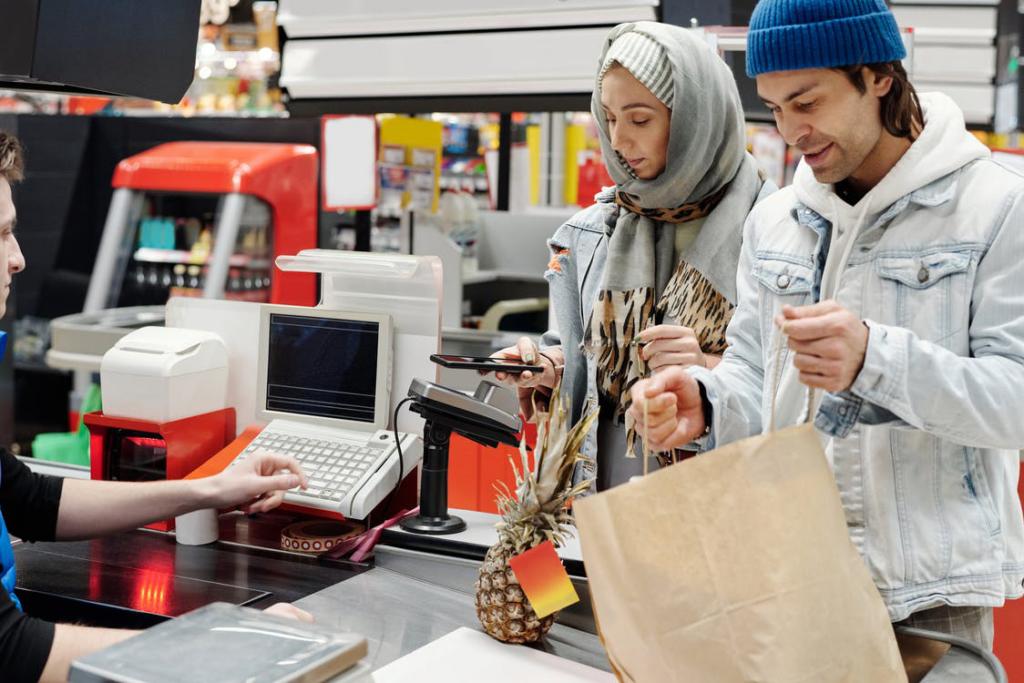 Muslim couple shopping